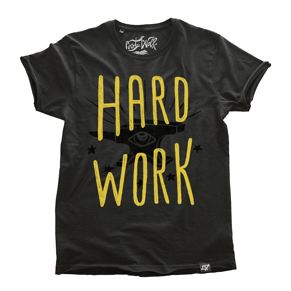 camiseta motera HARD WORK color Plomo