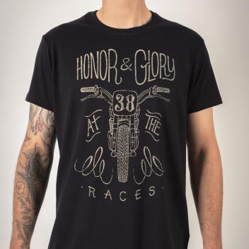 detalle camiseta motera HONOR & GLORY