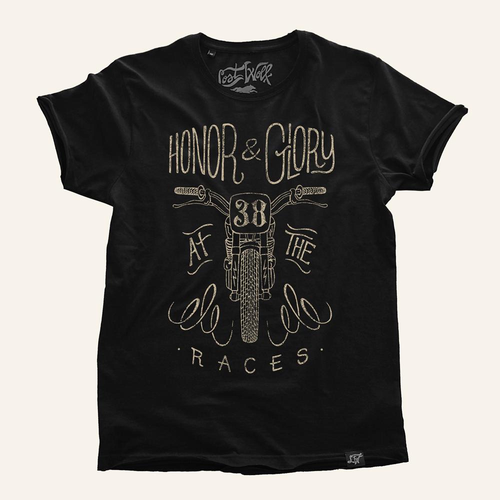 camiseta motera HONOR & GLORY color black