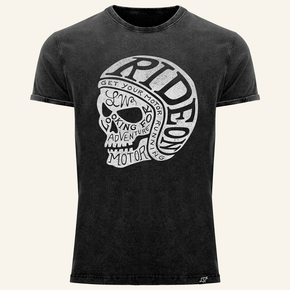 Camiseta moto Calavera  skull Ride ON negra trash