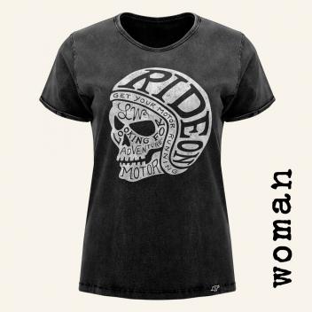 camiseta motera RIDE ON! BLACK mujer