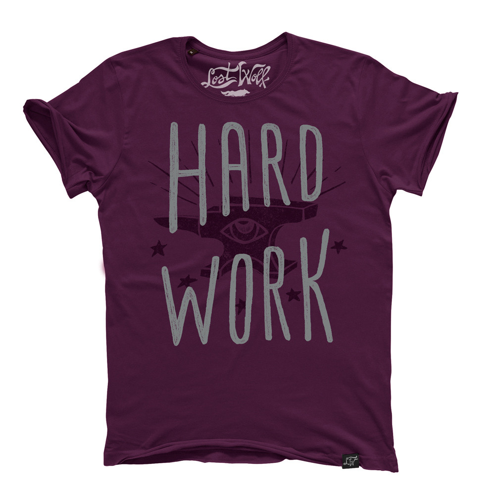 camiseta motera Hard Work color morado