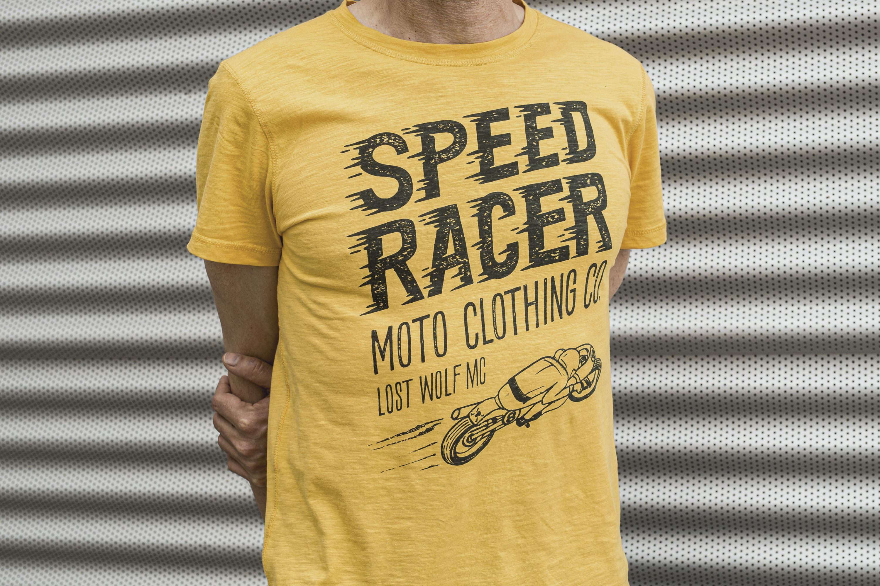 Camiseta hombre motera SPEED RACER color Yellowstone